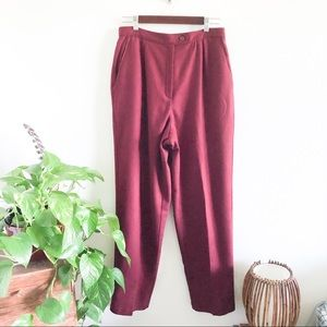 VINTAGE 80's high waisted burgundy wool trousers